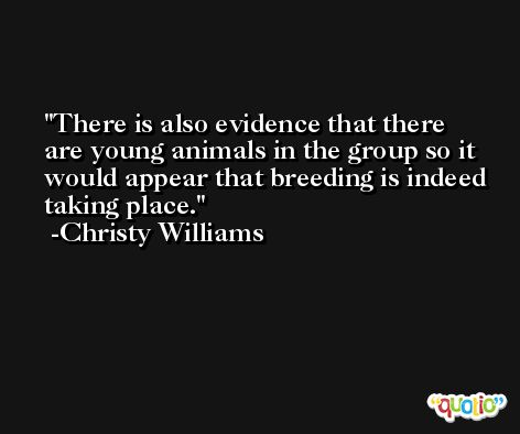 There is also evidence that there are young animals in the group so it would appear that breeding is indeed taking place. -Christy Williams