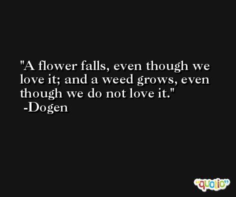 A flower falls, even though we love it; and a weed grows, even though we do not love it. -Dogen