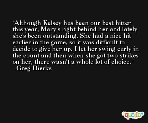 Although Kelsey has been our best hitter this year, Mary's right behind her and lately she's been outstanding. She had a nice hit earlier in the game, so it was difficult to decide to give her up. I let her swing early in the count and then when she got two strikes on her, there wasn't a whole lot of choice. -Greg Dierks