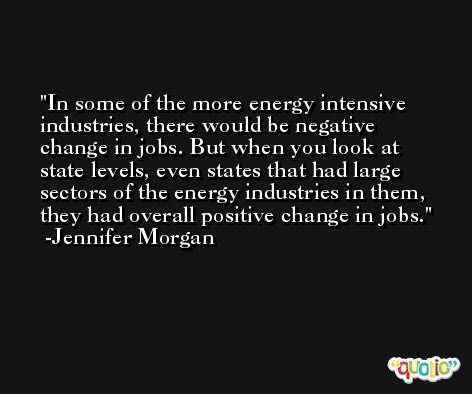 In some of the more energy intensive industries, there would be negative change in jobs. But when you look at state levels, even states that had large sectors of the energy industries in them, they had overall positive change in jobs. -Jennifer Morgan