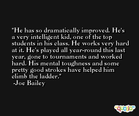 He has so dramatically improved. He's a very intelligent kid, one of the top students in his class. He works very hard at it. He's played all year-round this last year, gone to tournaments and worked hard. His mental toughness and some pretty good strokes have helped him climb the ladder. -Joe Bailey