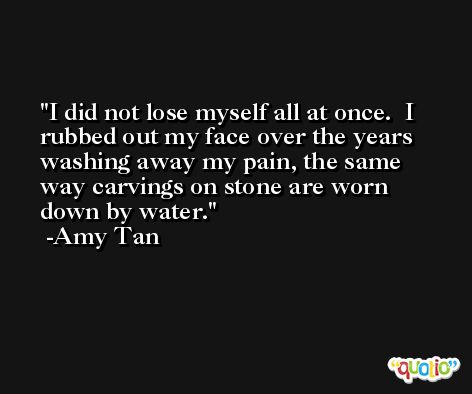 I did not lose myself all at once.  I rubbed out my face over the years washing away my pain, the same way carvings on stone are worn down by water. -Amy Tan