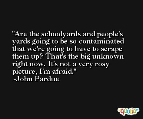 Are the schoolyards and people's yards going to be so contaminated that we're going to have to scrape them up? That's the big unknown right now. It's not a very rosy picture, I'm afraid. -John Pardue