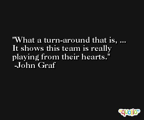 What a turn-around that is, ... It shows this team is really playing from their hearts. -John Graf