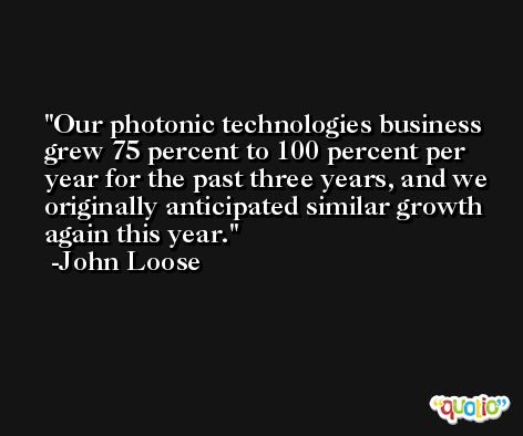 Our photonic technologies business grew 75 percent to 100 percent per year for the past three years, and we originally anticipated similar growth again this year. -John Loose