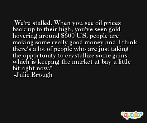 We're stalled. When you see oil prices back up to their high, you've seen gold hovering around $600 US, people are making some really good money and I think there's a lot of people who are just taking the opportunity to crystallize some gains which is keeping the market at bay a little bit right now. -Julie Brough