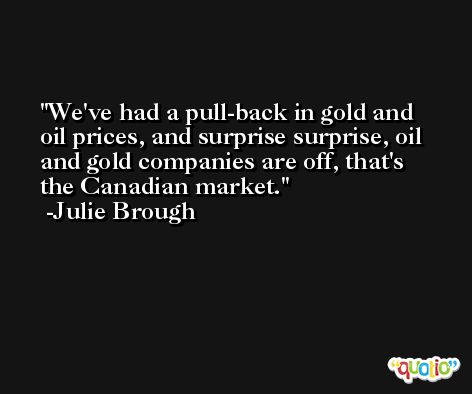 We've had a pull-back in gold and oil prices, and surprise surprise, oil and gold companies are off, that's the Canadian market. -Julie Brough