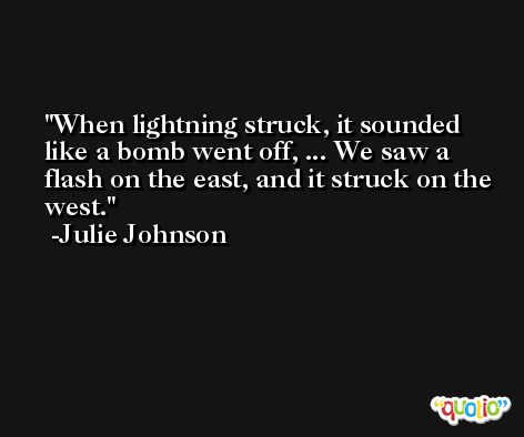 When lightning struck, it sounded like a bomb went off, ... We saw a flash on the east, and it struck on the west. -Julie Johnson