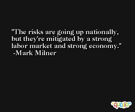 The risks are going up nationally, but they're mitigated by a strong labor market and strong economy. -Mark Milner