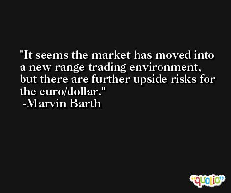 It seems the market has moved into a new range trading environment, but there are further upside risks for the euro/dollar. -Marvin Barth