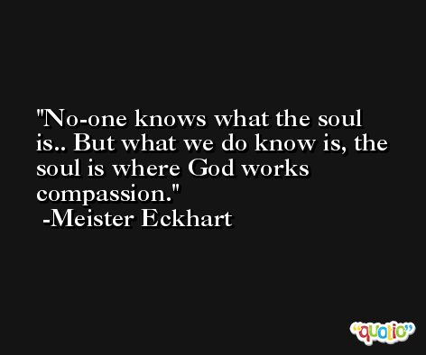 No-one knows what the soul is.. But what we do know is, the soul is where God works compassion. -Meister Eckhart