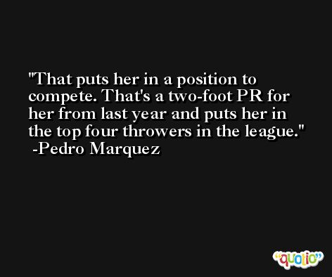 That puts her in a position to compete. That's a two-foot PR for her from last year and puts her in the top four throwers in the league. -Pedro Marquez