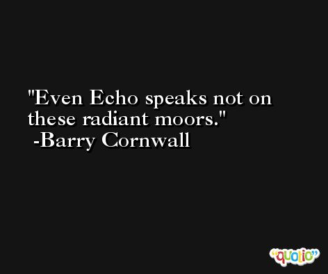 Even Echo speaks not on these radiant moors. -Barry Cornwall