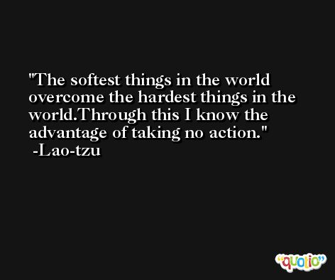 The softest things in the world overcome the hardest things in the world.Through this I know the advantage of taking no action. -Lao-tzu