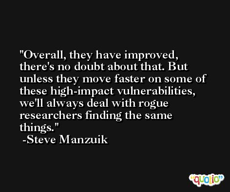 Overall, they have improved, there's no doubt about that. But unless they move faster on some of these high-impact vulnerabilities, we'll always deal with rogue researchers finding the same things. -Steve Manzuik