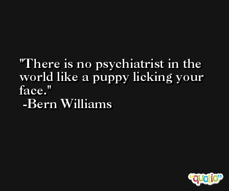 There is no psychiatrist in the world like a puppy licking your face. -Bern Williams