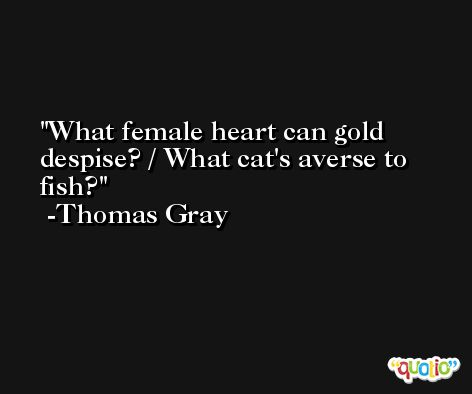 What female heart can gold despise? / What cat's averse to fish? -Thomas Gray