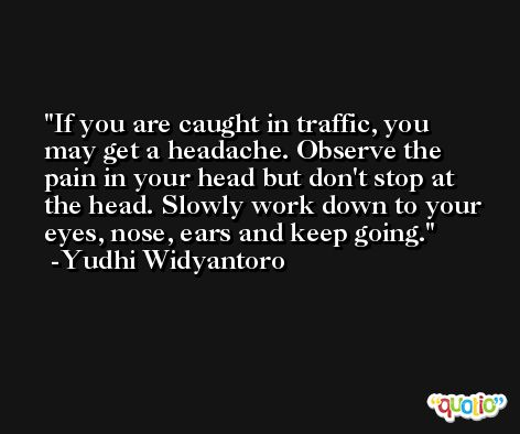 If you are caught in traffic, you may get a headache. Observe the pain in your head but don't stop at the head. Slowly work down to your eyes, nose, ears and keep going. -Yudhi Widyantoro
