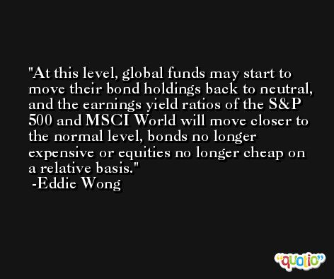 At this level, global funds may start to move their bond holdings back to neutral, and the earnings yield ratios of the S&P 500 and MSCI World will move closer to the normal level, bonds no longer expensive or equities no longer cheap on a relative basis. -Eddie Wong