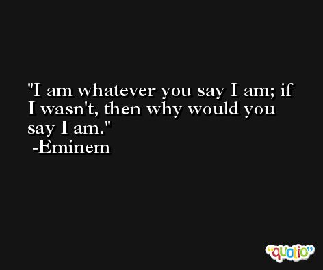 I am whatever you say I am; if I wasn't, then why would you say I am. -Eminem