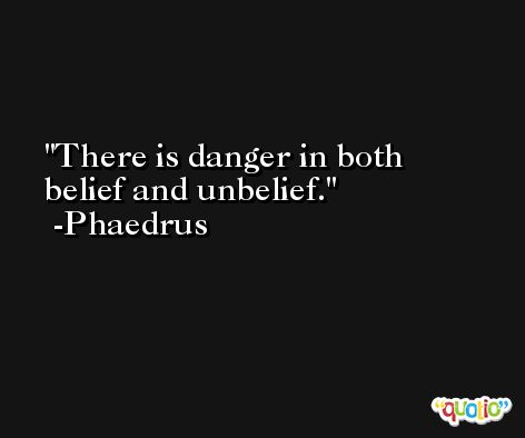 There is danger in both belief and unbelief. -Phaedrus