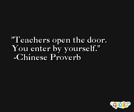Teachers open the door. You enter by yourself. -Chinese Proverb