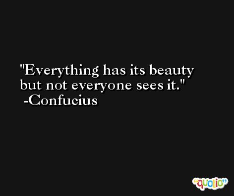 Everything has its beauty but not everyone sees it. -Confucius