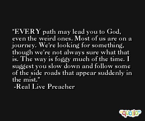 EVERY path may lead you to God, even the weird ones. Most of us are on a journey. We're looking for something, though we're not always sure what that is. The way is foggy much of the time. I suggest you slow down and follow some of the side roads that appear suddenly in the mist. -Real Live Preacher